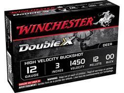 "Winchester Double X Ammunition 12 Gauge 3"" Buffered 00 Copper Plated Buckshot 12 Pellets Box of 5"