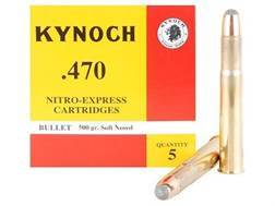 Kynoch Ammunition 470 Nitro Express 500 Grain Woodleigh Weldcore Soft Point Box of 5