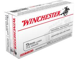 Winchester USA Ammunition 9mm Luger 115 Grain Jacketed Hollow Point