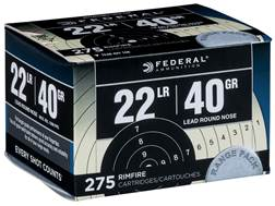 Federal Ammunition Target Pack 22 Long Rifle 40 Grain Lead Round Nose Box of 275