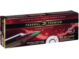 Federal Premium Vital-Shok Ammunition 300 Winchester Short Magnum (WSM) 180 Grain Trophy Copper T...