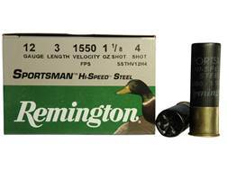 "Remington Sportsman Hi-Speed Ammunition 12 Gauge 3"" 1-1/8 oz #4 Non-Toxic Steel Shot"