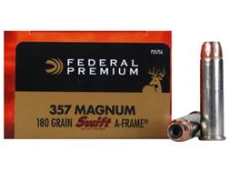 Federal Premium Vital-Shok Ammunition 357 Magnum 180 Grain Swift A-Frame Jacketed Hollow Point Bo...