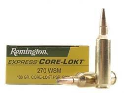 Remington Express Ammunition 270 Winchester Short Magnum (WSM) 130 Grain Core-Lokt Pointed Soft P...