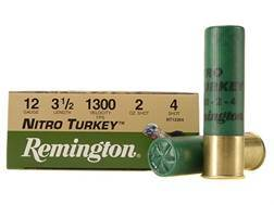 "Remington Nitro Turkey Ammunition 12 Gauge 3-1/2"" 2 oz of #4 Buffered Shot Box of 10"