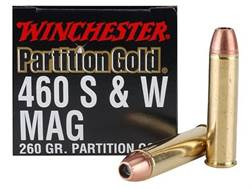 Winchester Supreme Gold Ammunition 460 S&W Magnum 260 Grain Nosler Partition Gold