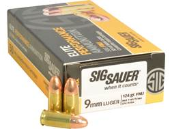 Sig Sauer Elite Performance Ammunition 9mm Luger 124 Grain Full Metal Jacket Box of 50