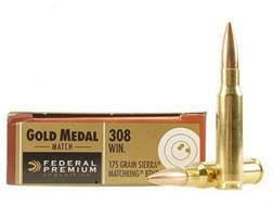 Federal Premium Gold Medal Ammunition 308 Winchester 175 Grain Sierra MatchKing Hollow Point Boat...
