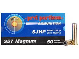 Prvi Partizan Ammunition 357 Magnum 158 Grain Semi-Jacketed Hollow Point Box of 50