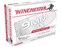 Winchester USA Range Pack Ammunition 9mm Luger 115 Grain Full Metal Jacket
