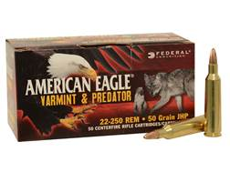 Federal American Eagle Ammunition 22-250 Remington 50 Grain Jacketed Hollow Point Box of 20