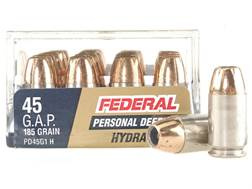 Federal Premium Personal Defense Reduced Recoil Ammunition 45 GAP 185 Grain Hydra-Shok Jacketed H...