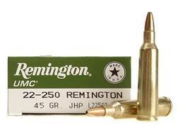 Remington UMC Ammunition 22-250 Remington 45 Grain Jacketed Hollow Point
