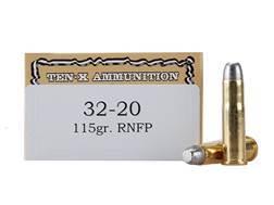 Ten-X Cowboy Ammunition 32-20 WCF 115 Grain Lead Round Nose Box of 50