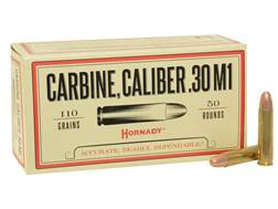 Hornady Custom Ammunition 30 Carbine 110 Grain Full Metal Jacket Box of 50