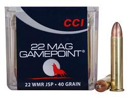 CCI GamePoint Ammunition 22 Winchester Magnum Rimfire (WMR) 40 Grain Jacketed Spire Point Box of 50