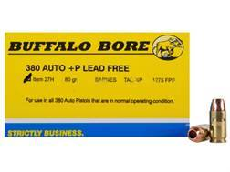 Buffalo Bore Ammunition 380 ACP +P 80 Grain Barnes TAC-XP Hollow Point Lead-Free Box of 20