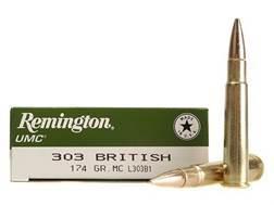 Remington UMC Ammunition 303 British 174 Grain Full Metal Jacket Box of 20