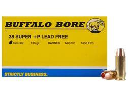 Buffalo Bore Ammunition 38 Super +P 115 Grain Barnes TAC-XP Hollow Point Lead-Free Box of 20