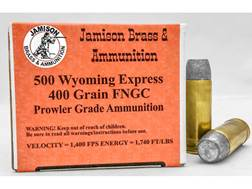 Jamison Ammunition 500 Wyoming Express 400 Grain Flat Nose Gas Check Box of 20