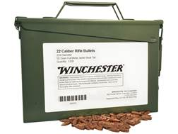 Winchester Bullets 22 Caliber (224 Diameter) 55 Grain Full Metal Jacket Boat Tail Ammo Can of 1500