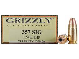 Grizzly Ammunition 357 Sig 124 Grain Jacketed Hollow Point Box of 20