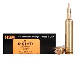 HSM Trophy Gold Ammunition 30-378 Weatherby Magnum 210 Grain Berger Hunting VLD Hollow Point Boat...