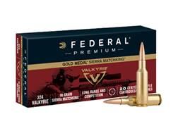 Federal Premium Gold Medal Ammunition 224 Valkyrie 90 Grain Sierra MatchKing Hollow Point Boat Ta...