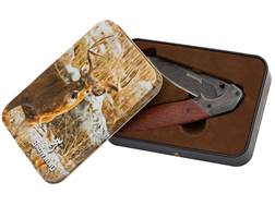 "Browning Whitetail Folding Pocket Knife Gift Tin 3.25"" Stonewash Drop Point 5CR15MoV Stainless St..."