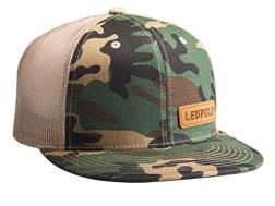 Leupold Leather Patch Logo Trucker Hat Polyester Camo/Khaki