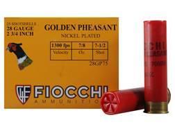 "Fiocchi Golden Pheasant Ammunition 28 Gauge 2-3/4"" 7/8 oz #7-1/2 Nickel Plated Shot Box of 25"