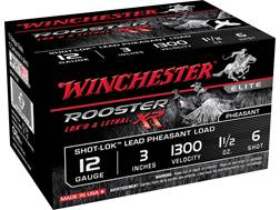 "Winchester Rooster XR Pheasant Ammunition 12 Gauge 3"" 1-1/2 oz #6 Shot-Lok Copper Plated Shot"