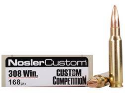 Nosler Match Grade Ammunition 308 Winchester 168 Grain Custom Competition Hollow Point Boat Tail Box of 20