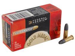 Federal Premium Gold Medal UltraMatch Ammunition 22 Long Rifle 40 Grain Lead Round Nose