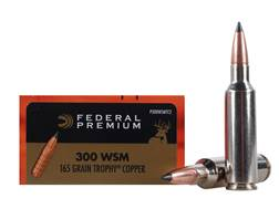 Federal Premium Vital-Shok Ammunition 300 Winchester Short Magnum (WSM) 165 Grain Trophy Copper T...