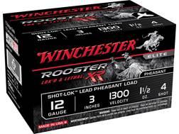 "Winchester Rooster XR Pheasant Ammunition 12 Gauge 3"" 1-1/2 oz #4 Shot-Lok Copper Plated Shot"