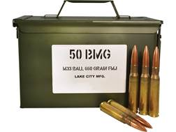 Military Surplus Ammunition 50 BMG 660 Grain M33 Full Metal Jacket Ammo Can of 100