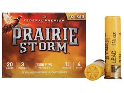 "Federal Premium Prairie Storm Ammunition 20 Gauge 3"" 1-1/4 oz #4 Plated Shot Box of 25"