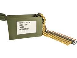 Military Surplus Ammunition 50 BMG Full Metal Jacket M33 Ball/M17 Tracer 4 to 1 Linked 100 Rounds...