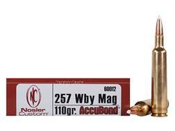 Nosler Trophy Grade Ammunition 257 Weatherby Magnum 110 Grain AccuBond Spitzer Box of 20