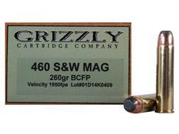 Grizzly Ammunition 460 S&W Magnum 260 Grain Hawk Bonded Core Jacketed Flat Point Box of 20