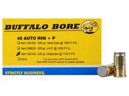 Buffalo Bore Ammunition 45 Auto Rim (Not ACP) +P 225 Grain Hard Cast Lead Wadcutter Box of 20