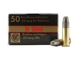 RWS R-100 Ammunition 22 Long Rifle 40 Grain Lead Round Nose
