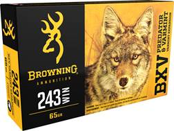 Browning BXV Varmint Expansion Ammunition 243 Winchester 65 Grain Polymer Tip Rapid Expansion
