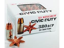 G2 Research Civic Duty Ammunition 380 ACP 64 Grain Expanding Solid Copper Lead-Free Box of 20