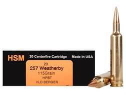 HSM Trophy Gold Ammunition 257 Weatherby Magnum 115 Grain Berger Hunting VLD Hollow Point Boat Ta...