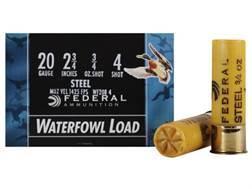 "Federal Speed-Shok Waterfowl Ammunition 20 Gauge 2-3/4"" 3/4 oz #4 Non-Toxic Steel Shot"