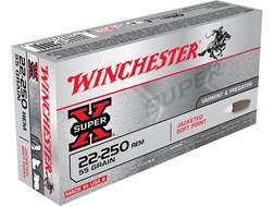 Winchester Super-X Ammunition 22-250 Remington 55 Grain Pointed Soft Point