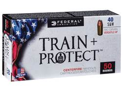 Federal Train + Protect Ammunition 40 S&W 180 Grain Versatile Hollow Point Box of 50