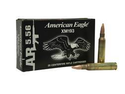 Federal American Eagle AR Ammunition 5.56x45mm NATO 55 Grain XM193 Full Metal Jacket Boat Tail